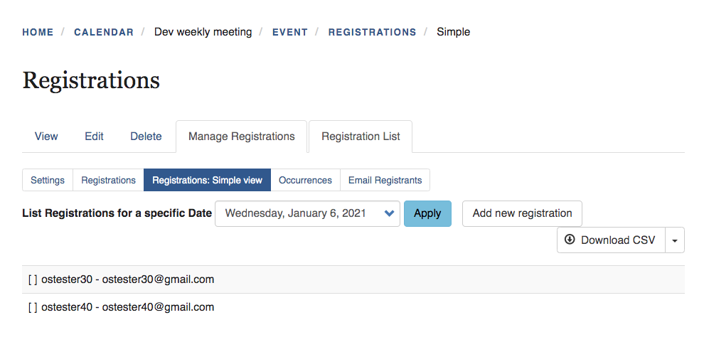Manage - registration simple view