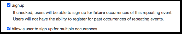 signup and allow multiple occurrences