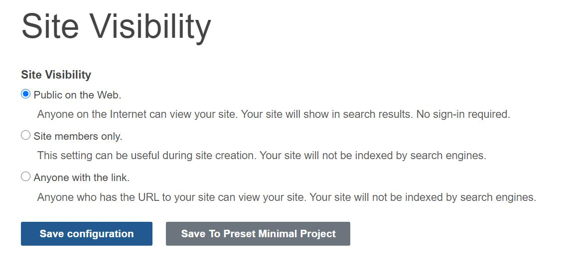 Site Visibility Options